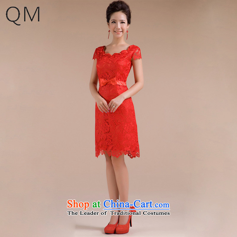 The end of the light (QM) short of qipao package shoulder red qipao improved stylish lace bows services CTX QP-108 RED?M