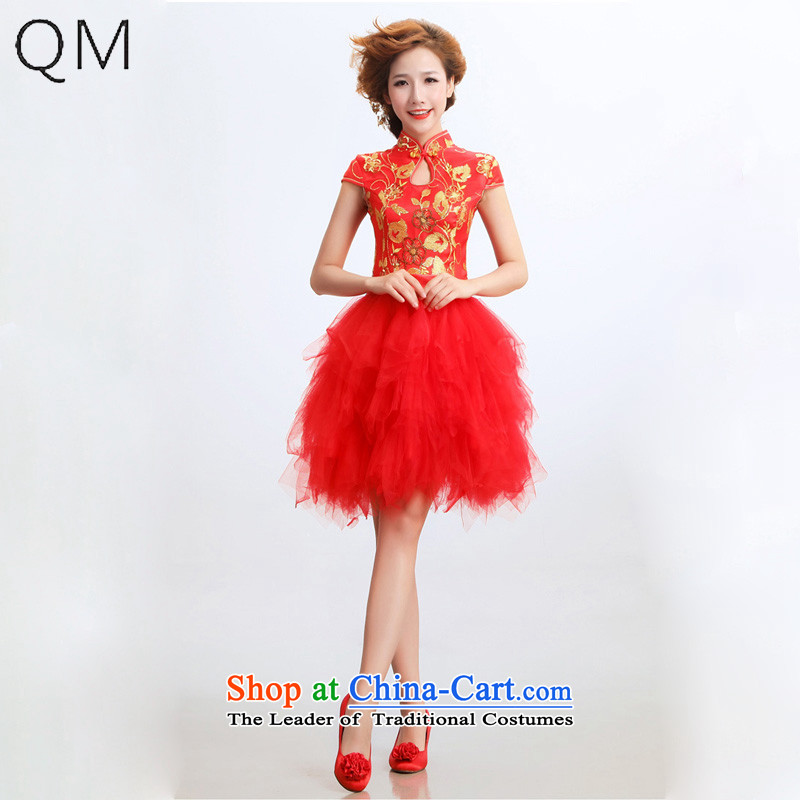 The end of the light _QM_ Bride short of qipao improved stylish marriages wedding dresses CTX RED聽M