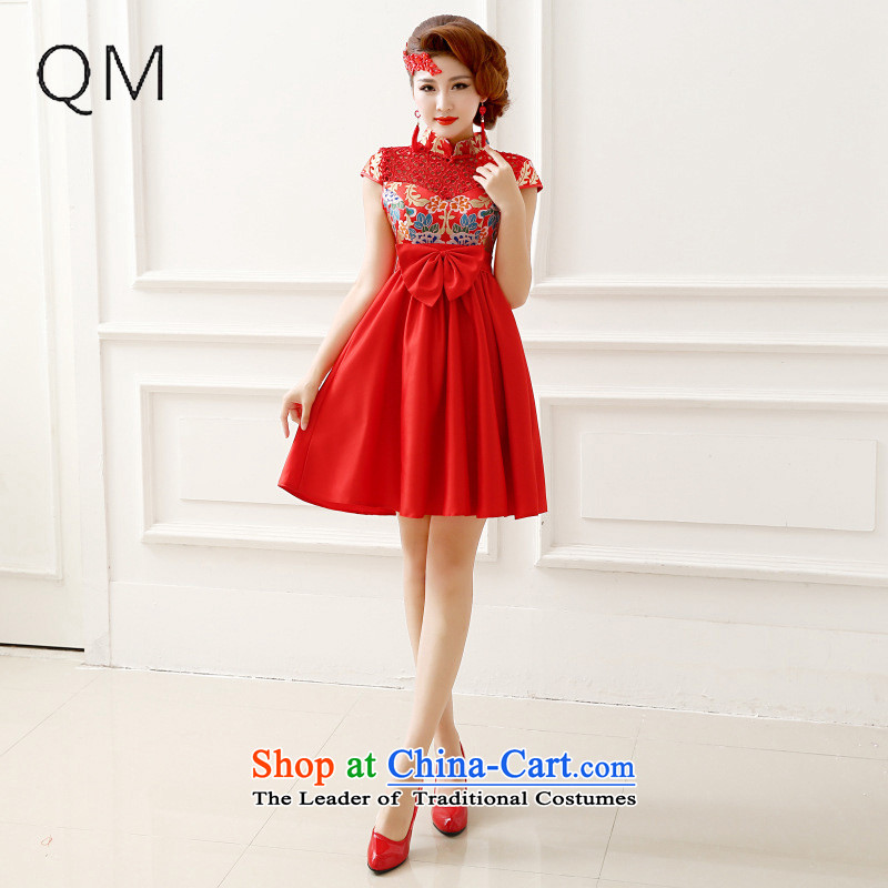 The end of the light (QM) Marriages water-soluble lace package shoulder short-sleeved long-night ceremony qipao CTX QP-139 RED?L