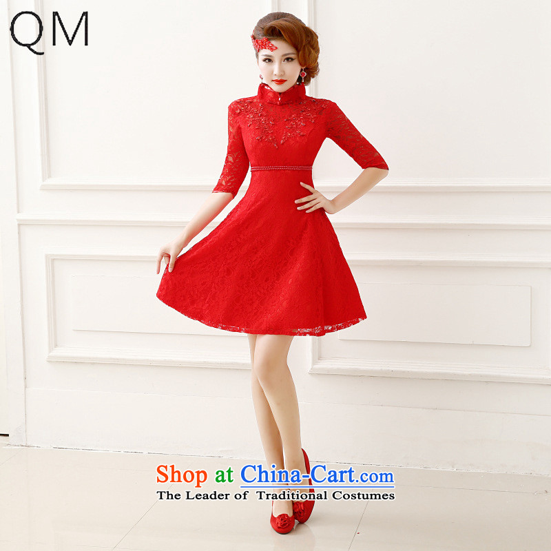 The end of the light _QM_ Bride bows QIPAO_ 7 to the short-sleeved red bridal dresses marriage CTX QP151 RED L