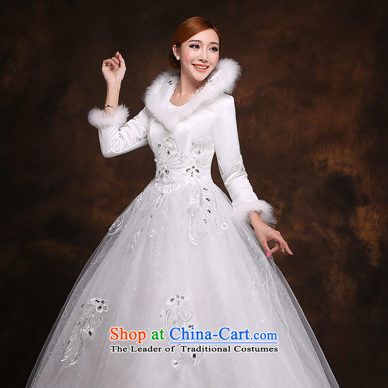 Hei Kaki 2014 new winter wedding to align the long-sleeved marriages video thin princess bon bon skirt wedding dress D004 white?S