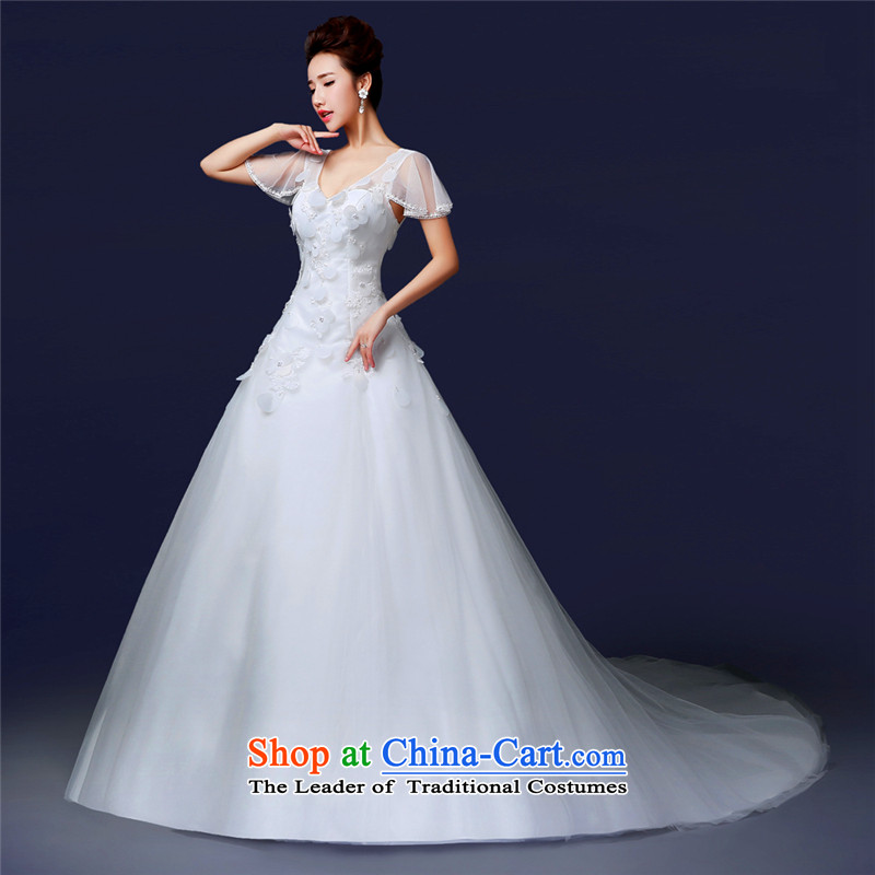 Jie mija new stylish shoulders 2014 V-Neck simple small trailing back diamond crowsfoot custom wedding female Korean brides version White?XXL