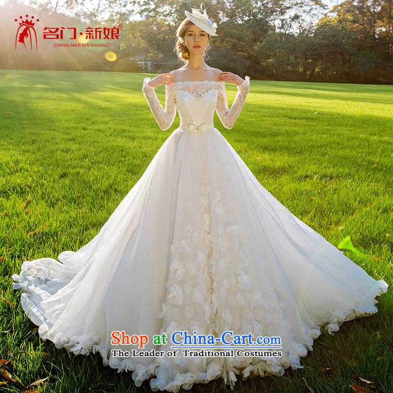 A Bride wedding dresses new 2015 winter marriage wedding flower petals large tail dream 2512 L
