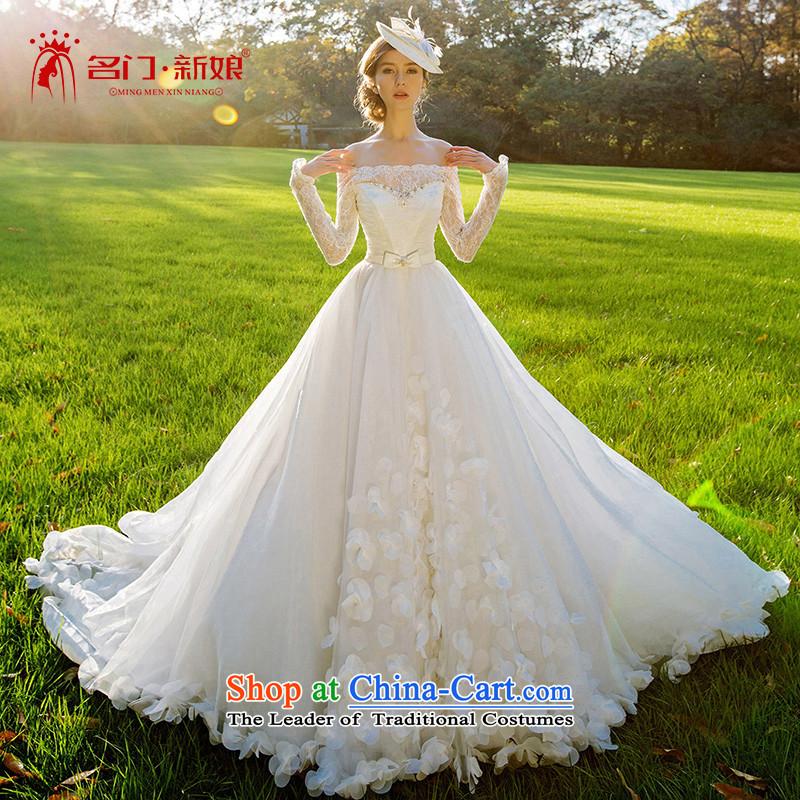 A Bride wedding dresses new 2015 winter marriage wedding flower petals large tail dream 2512 L