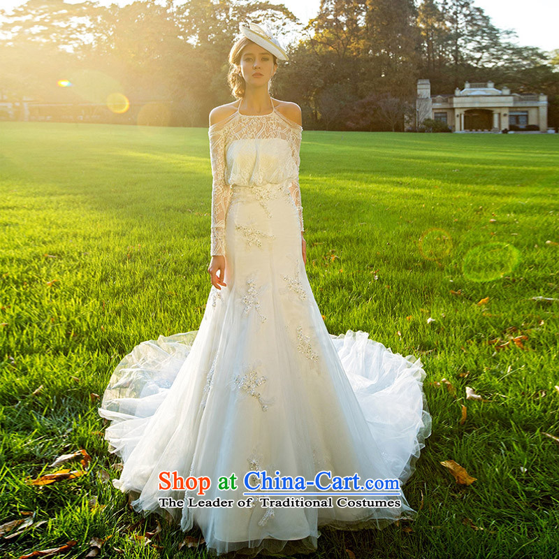 A Bride wedding dresses new 2015 winter lace crowsfoot wedding long tail luxury?2516 S