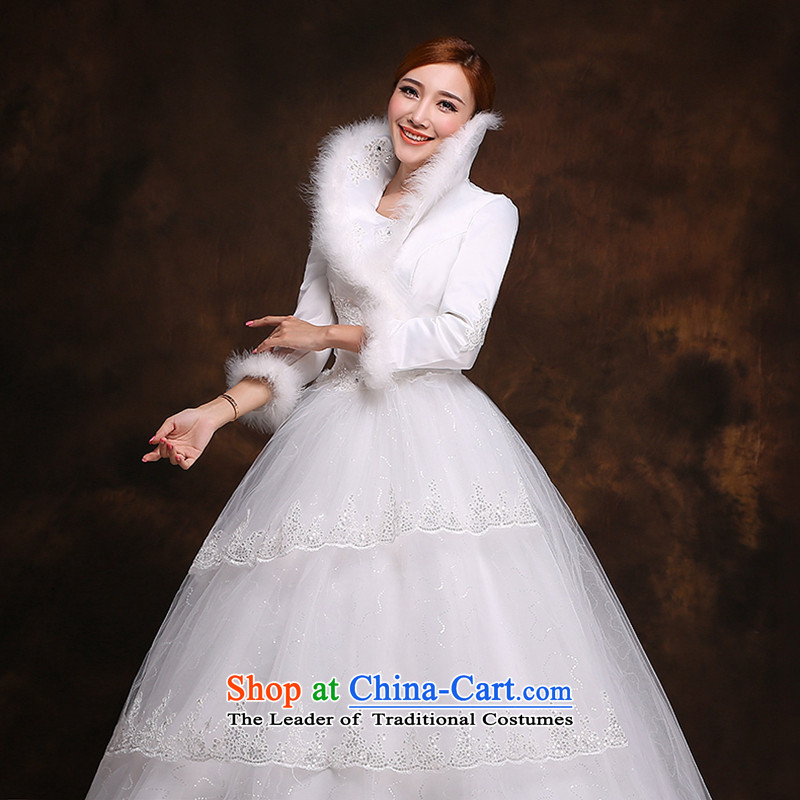 Hei Kaki 2014 winter wedding dresses New Sau San video thin marriages warm winter of long-sleeved gross collar D005 White?XXL