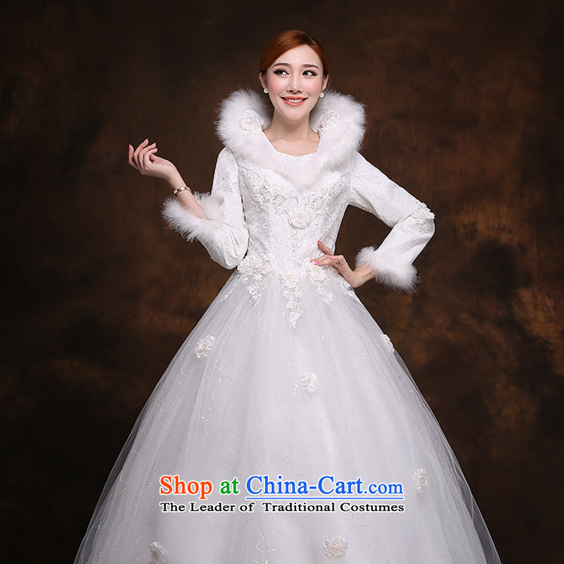 Hei Kaki 2014 new winter wedding to align the long-sleeved winter) Marriages video thin princess wedding dresses D007 White?XXL