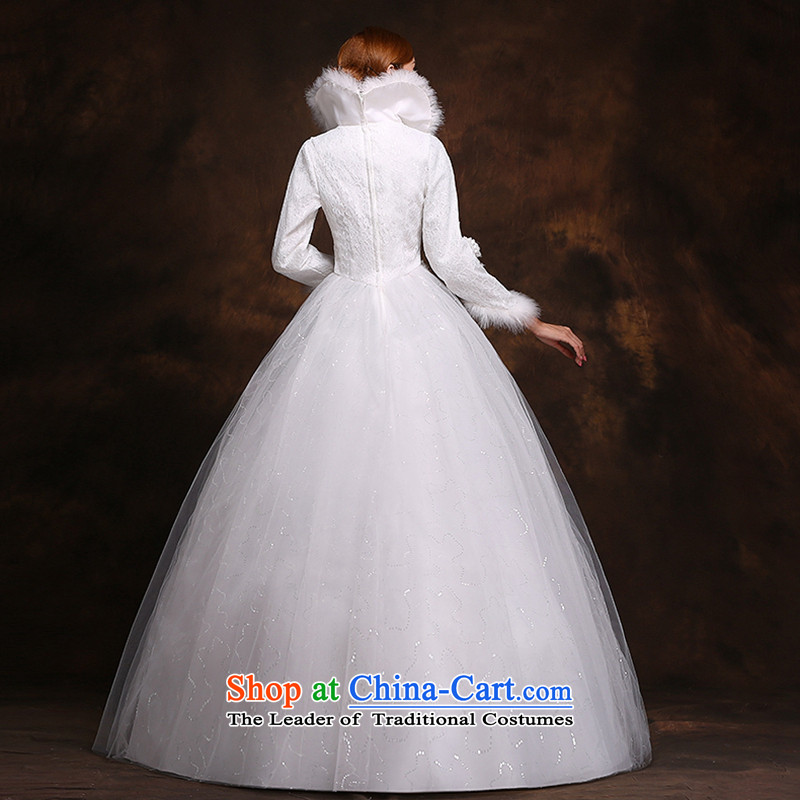 Hei Kaki 2014 new winter wedding to align the long-sleeved winter) Marriages video thin princess wedding dresses D007 XXL, white-hi kaki shopping on the Internet has been pressed.