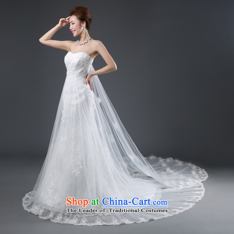 Jie mija tail wedding dresses new 2014 Korean fashion and chest straps lace video thin Ho Sau San Huaqiu winter_ female white?S