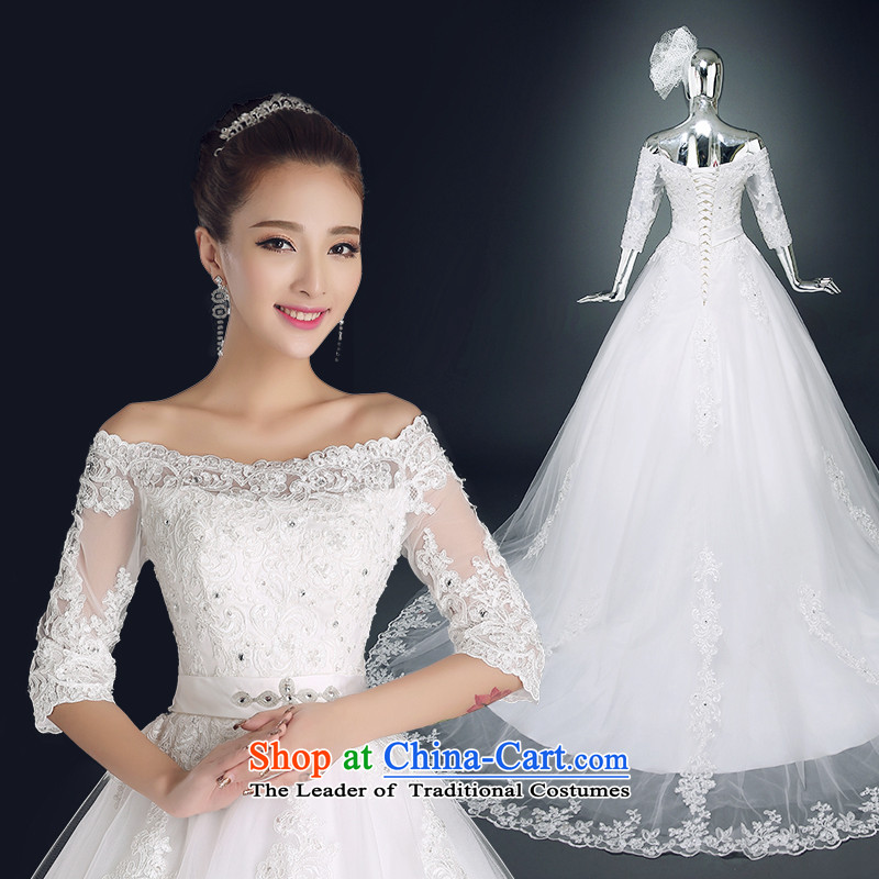 Noritsune bride�2014 tail wedding Korean version of the new video thin stylish wedding pregnant women married to tie wedding bride first field shoulder wedding can be made wedding White�XXL
