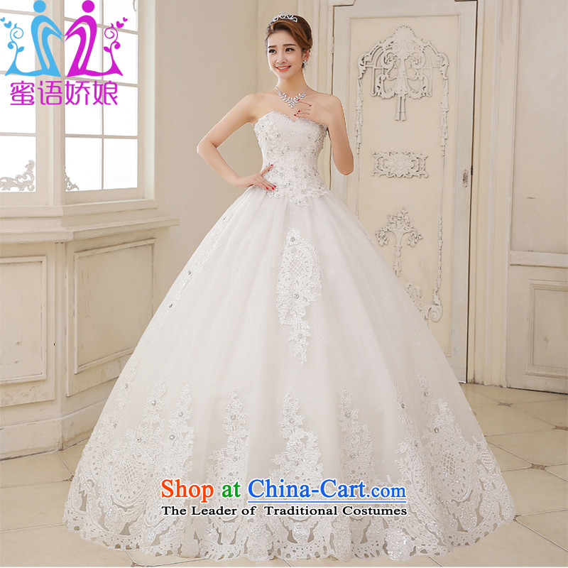 Talk to her聽wedding dresses brides 2015 new Korean to align graphics thin and chest straps Sau San large retro Diamond Wedding White聽XXL