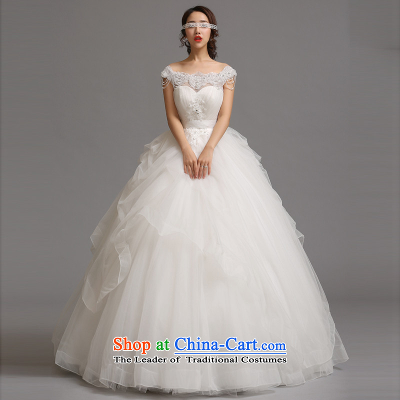 Jie mija wedding dresses the new 2014 version of the word won stylish shoulder bags shoulder straps to align the brides fall wedding video thin White聽XXL