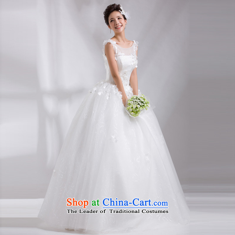 Jie mija wedding dresses?2014 new word shoulders lace white marriages to bind with large align code wedding White?M