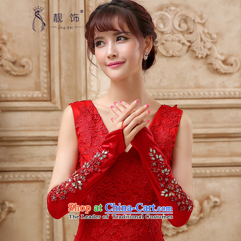 The new 2015 International Friendship red bridal gloves wedding dresses accessories accessories photo building supplies red kits refer to long_?107?Factory Outlet