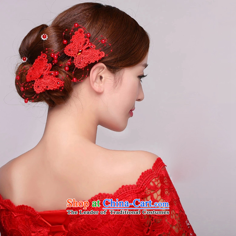 Doi m qi bride Head Ornaments Red Korean head and trays of the manual was adorned with Korea was adorned with butterfly clip marriage jewelry a pair of red + 5 by Ornate Kanzashi are code, Demi Moor Qi , , , shopping on the Internet