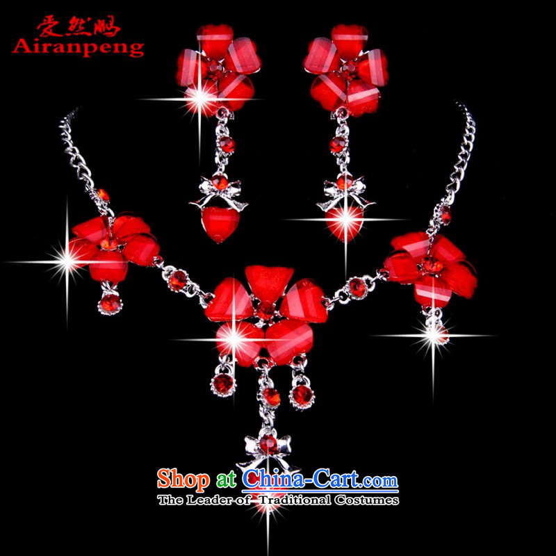 Red jewelry necklaces, earrings wedding dresses accessories, red ornaments R90 Red Figure Color