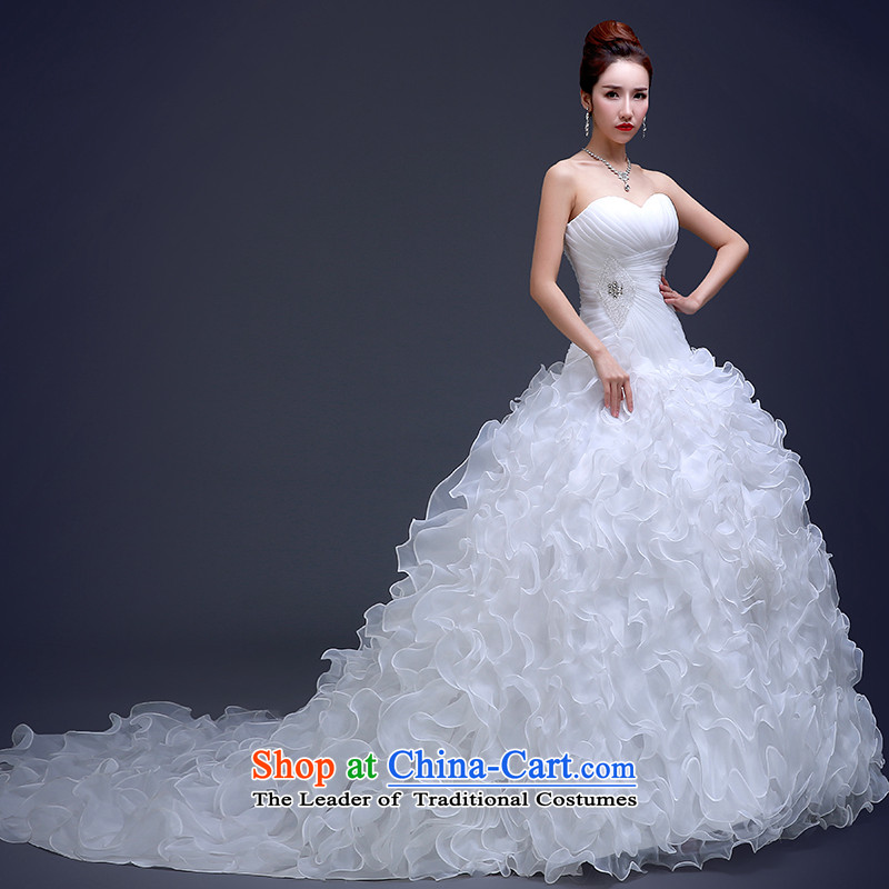 Beverly Ting wedding dresses new 2015 Long Tail and stylish chest-video thin princess bon bon skirt bride wedding Winter load white L, Beverly (tingbeier ting) , , , shopping on the Internet