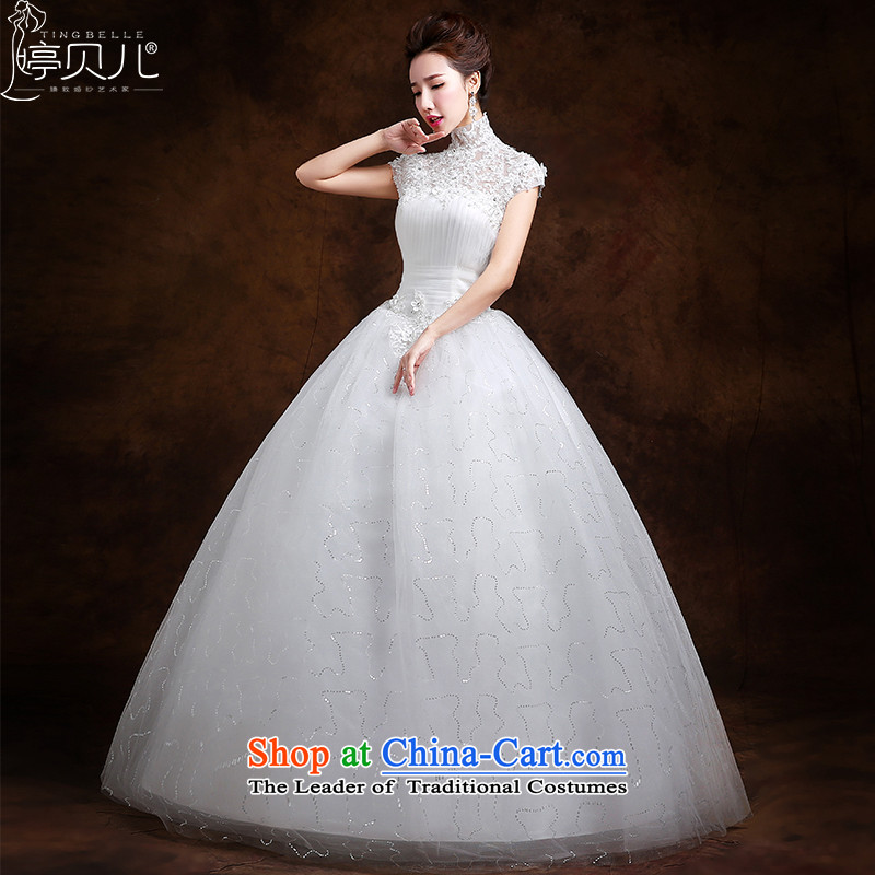 Beverly Ting wedding dresses in spring and summer 2015 new stylish Korean skirt the word A shoulder lace align to bind with bride wedding white?L