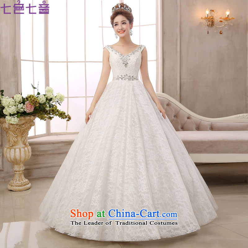 7 Color 7 tone Korean New 2015 V-neck strap with shoulder drill on large palace retro graphics to align the thin wedding dresses?H059?white?L