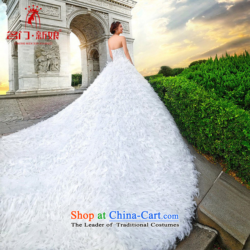 A Bride feather wedding wedding dresses?2015 New Winter Han version of large tail wedding dresses?A968 S