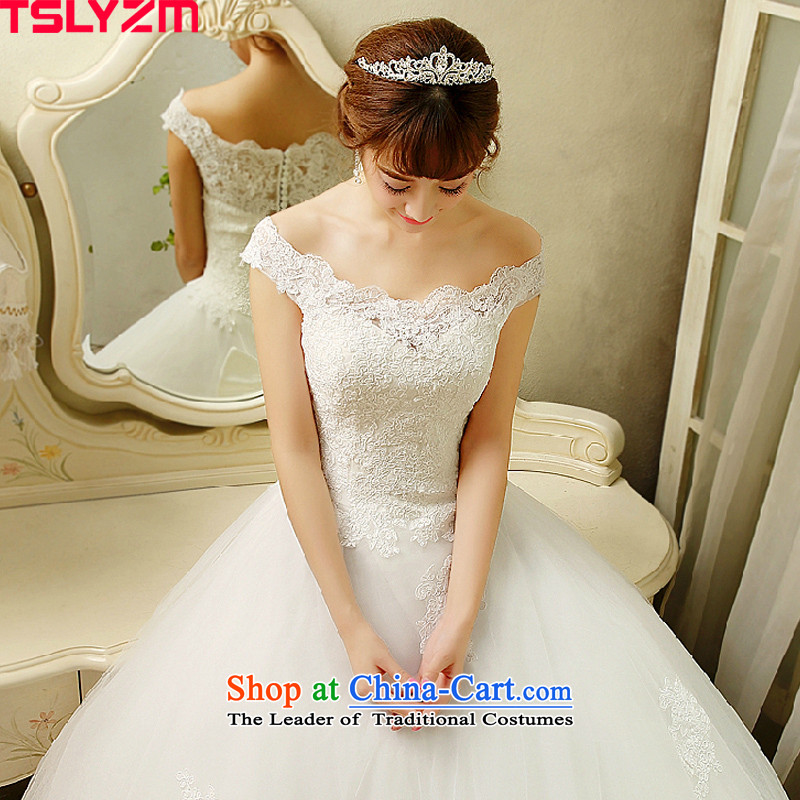 The word tslyzm shoulder wedding dresses of autumn and winter 2015 new marriages Korean lace to align the Sau San bon bon skirt to align the white?M