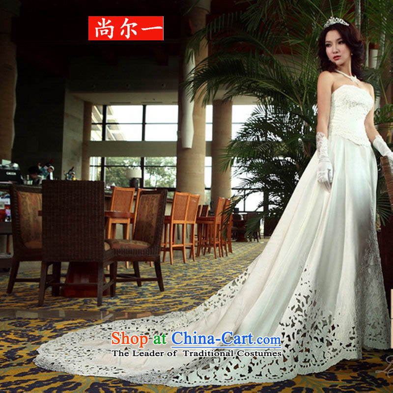 Yet, a wedding tail 2015 New Princess thick forged car unit engraving flower powerful large tail bride wedding ys6103 White燲L