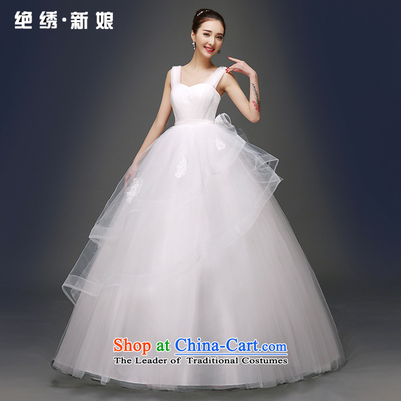 Embroidered is by no means a bride wedding dresses in spring and summer 2015 new stylish Korean shoulders large graphics thin Sau San to align bon bon skirt White?XXL?2 shoulders ft 3 waist Suzhou Shipment