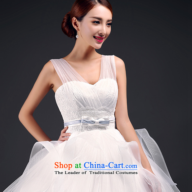 In accordance with the 2015 Jimmy St��phane New Summer Wedding marriages wedding dresses wedding larger pregnant women Wedding Fashion Korean Sau San shoulder straps and chest wedding m White?XL