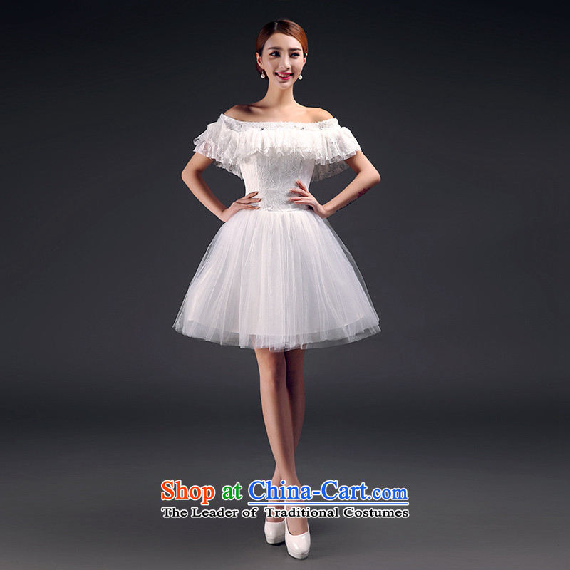 2015 Spring/Summer new bridesmaid dress short of the word wedding dress sister countries shoulder annual small dress dresses moderator girl will betrothal birthday m White?XL