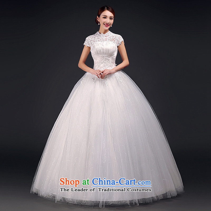 The first field shoulder wedding dresses Summer 2015 new lace back Korean Princess Bride marriage wedding code pregnant women with m White M