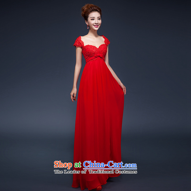 Red bows Service Bridal short of summer?2015, summer new long gown Korean high maternal large waist slotted shoulder Sau San evening dresses moderator female red?L?low prices and the Factory Outlets