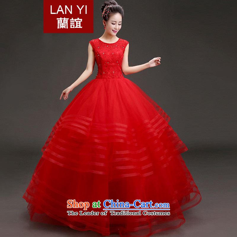 The Friends of the bride wedding dresses Korean version of thin red word marriage shoulder winter, bon bon skirt to align the wedding�2015 winter new wedding red�XXL code waist size 2.4