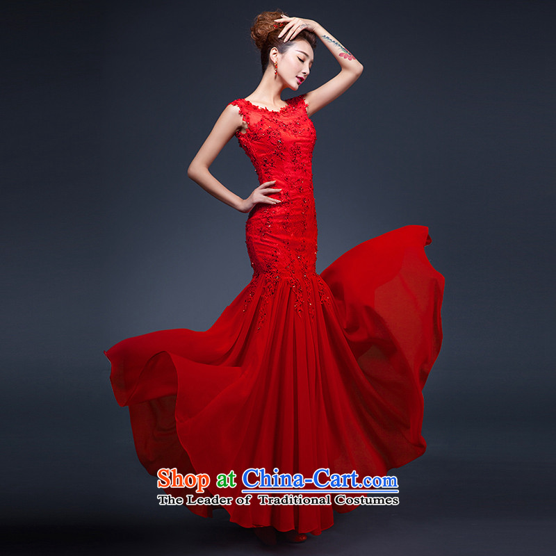St��phane Yu in marriages bows long red uniform dress the word   shoulders back crowsfoot dress female red?XL?high-end quality