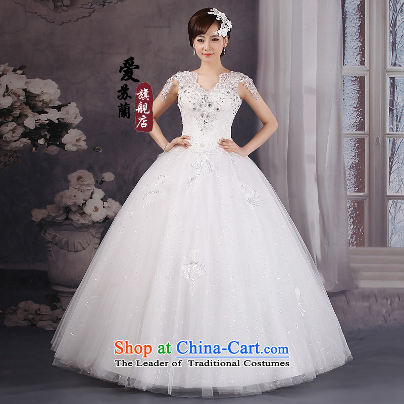 The Korean version of the new high-v-neck and sexy lace strap shoulders wedding flower Wedding Super Video Graphics thin wedding White�M