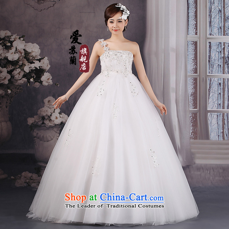 2015 new bride Korean elegant sweet straps princess winter wedding Korean style with white?L chest
