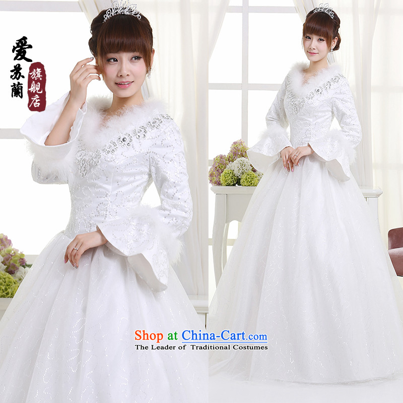 Winter, wedding long-sleeved new winter plus cotton dress Korean winter Princess Bride wedding wedding S311 white�S