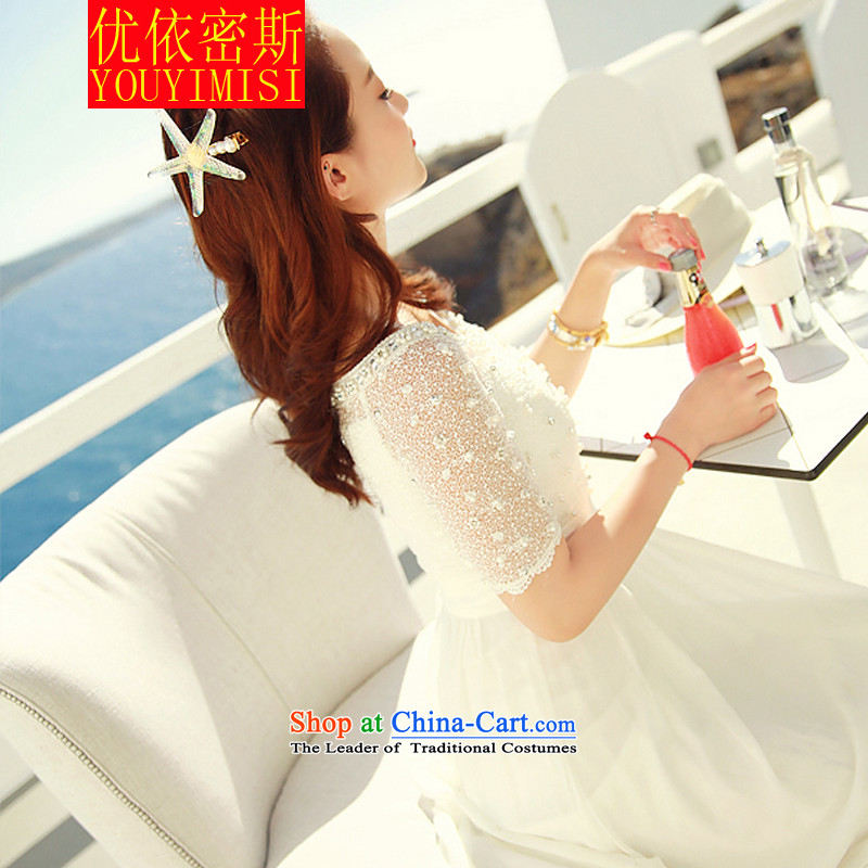 In accordance with the key, 2015 optimized lace chiffon dresses nail pearl bohemian long skirt video thin beachside resorts long skirt White�M