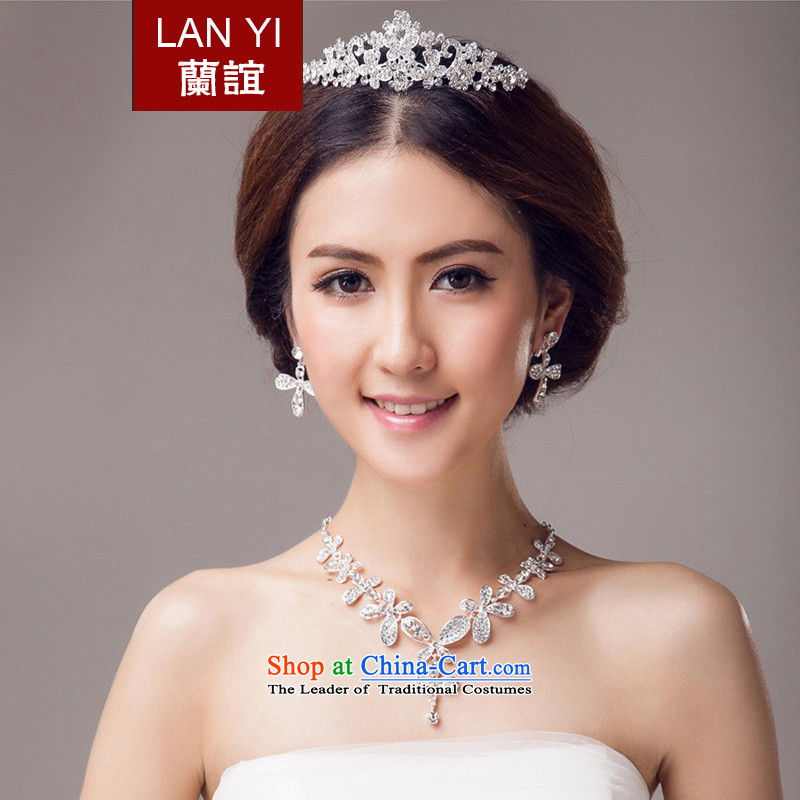 In?2015, Friends bride wedding dresses accessories Korean version of crown necklace earrings three piece wedding wedding dresses marriage with bride jewelry and ornaments ornaments Kits