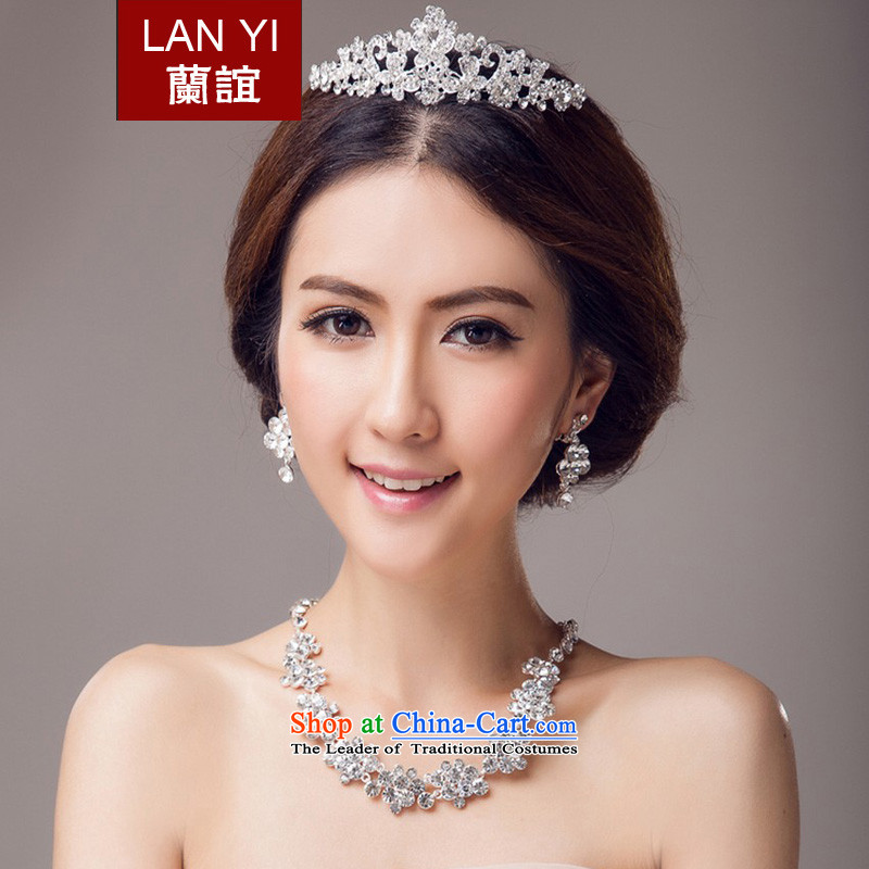 In�2015, Friends bride wedding dresses accessories Korean brides crown necklace earrings three piece bridal jewelry and ornaments wedding dress accessory kits