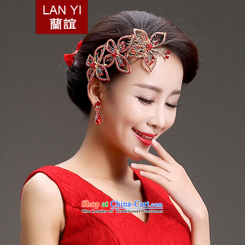 In 2015, Friends bride wedding dresses qipao accessories Korean bridal headdress crown necklace earrings three piece bridal jewelry red wedding dress with Head Ornaments