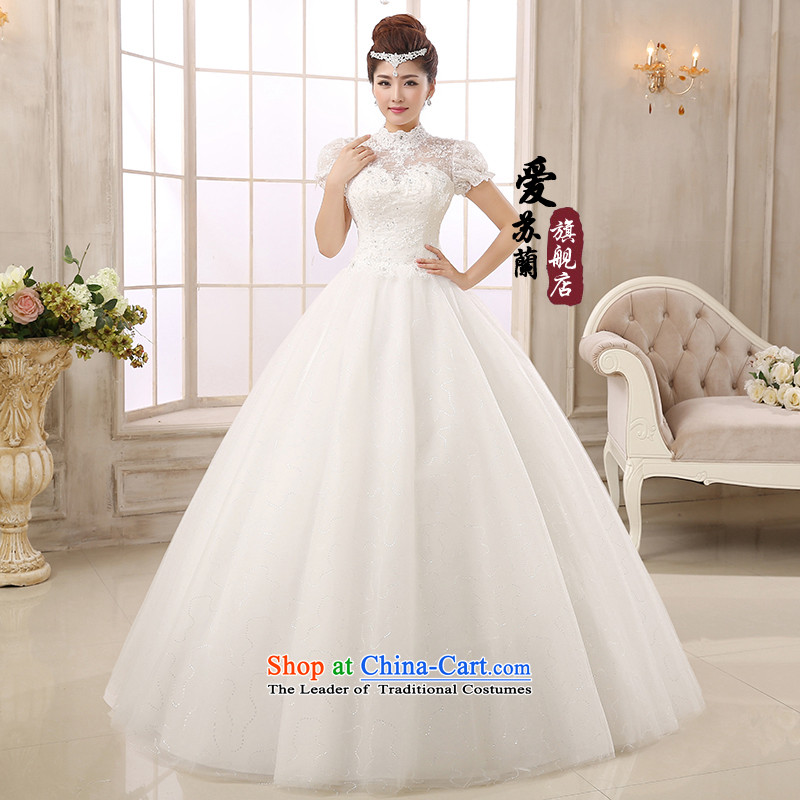 The new Korean style wedding alignment with chest wedding dresses Korean sweet princess bon bon skirt wedding stars of the same word wedding shoulder wedding XXXL White