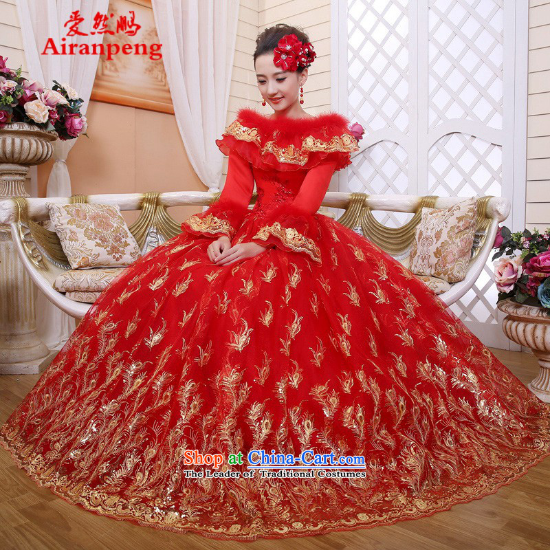 The new 2014 Winter) red cotton wedding word winter your shoulders to long-sleeved wedding dresses Korean wedding?package returning L lace