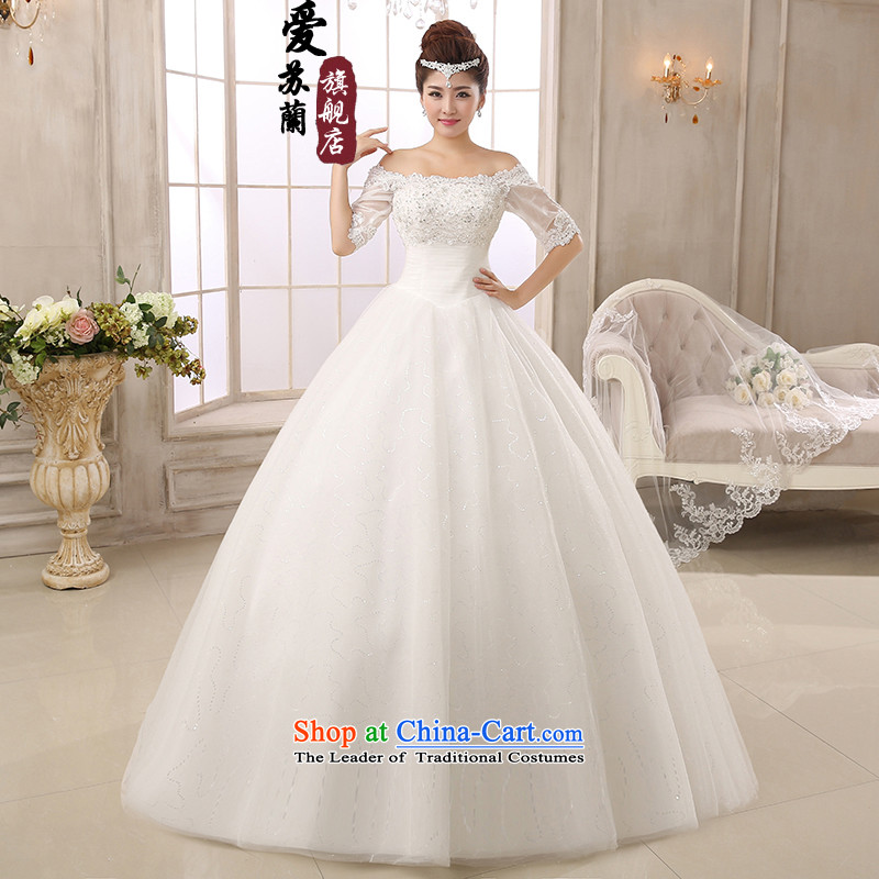The bride wedding dresses new Word 2015 shoulder water drilling wedding lace princess in Korean to align the Cuff strap white?M