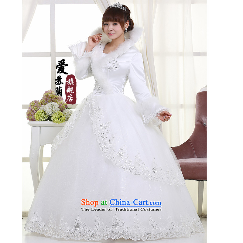 Winter clothing bride wedding wedding dresses marriage wedding new wedding warm wedding White聽XXL