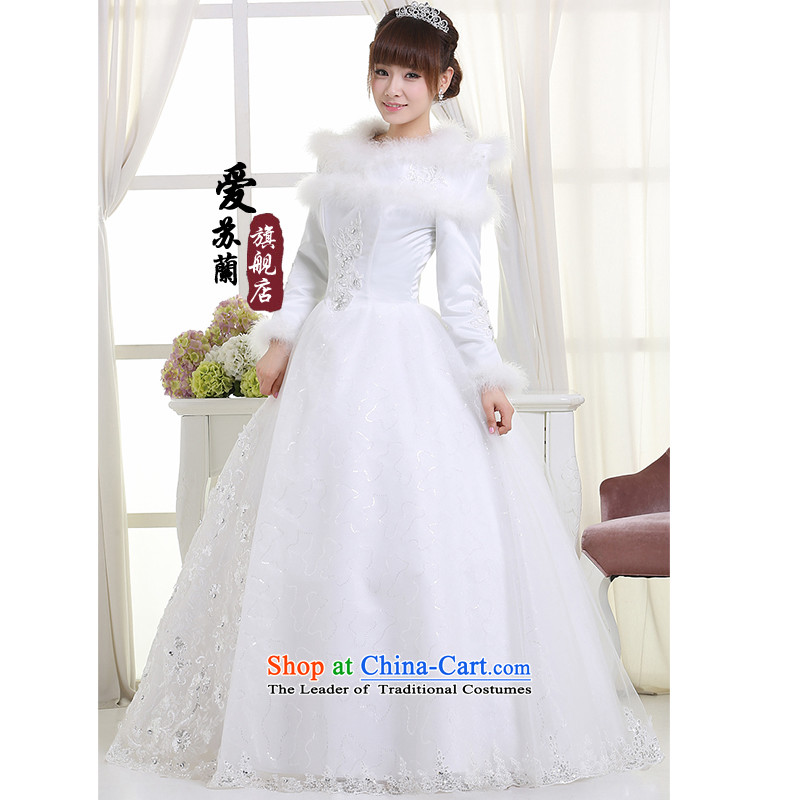 Wedding dresses new 2015 winter plus cotton winter wedding to align the thick winter of long-sleeved wedding White XXL