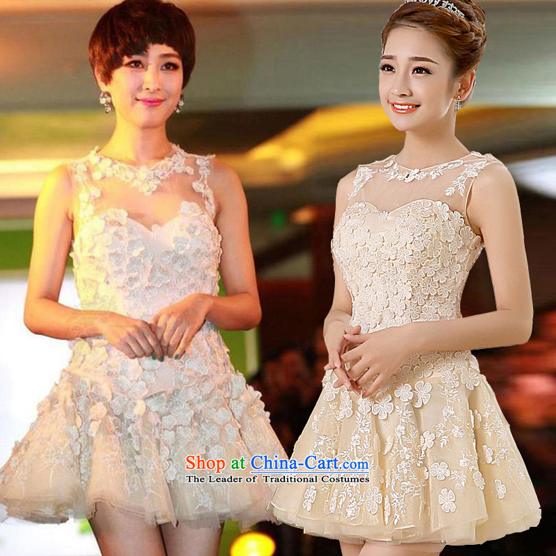 2015 new spring and summer bridesmaid to serve small stylish dresses dress bridesmaid mission sister skirt flowers Dress Short concert services moderator dress female betrothal serving champagne color聽L