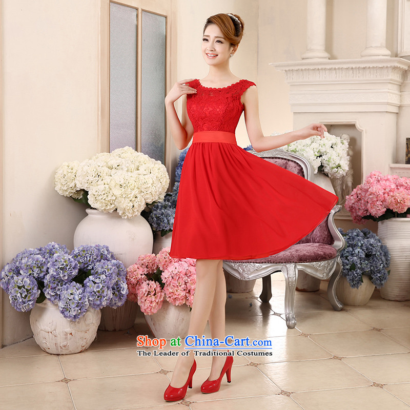 Wedding dresses new 2015 Summer bridesmaid dress Top Loin of pregnant women small red dress shoulders of Evening Dress Short large Fat MM bridal dresses bows services red?L