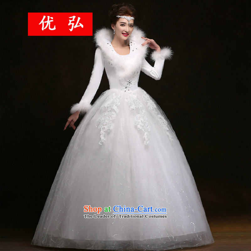 Optimize Hong-winter long-sleeved wedding thick warm winter clothing marriage wedding dress winter YSB1132 white�S