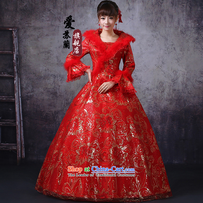 Winter clothing clip cotton red wedding winter clothing warm wedding simple best-selling wedding dresses the latest wedding red S