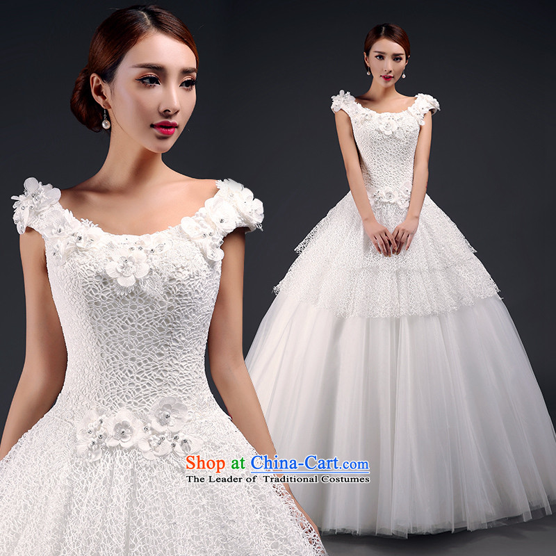 St茅phane Yu to wedding dresses new 2015 Spring_Summer shoulders to align the wedding fashion the word   lace shoulder marriages wedding hotel wedding m White聽XL